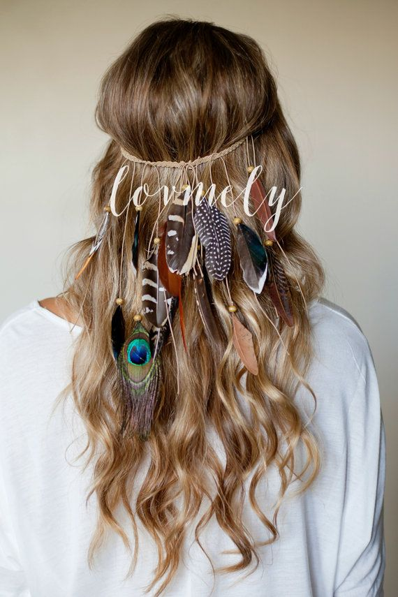 BOHO chic FESTIVAL FEATHER headband  hippie style   braided stretch band   peacock  can be worn as a necklace 7a0cefb0123