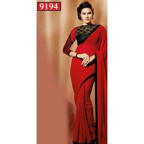 red georgette plain designer saree with blouse