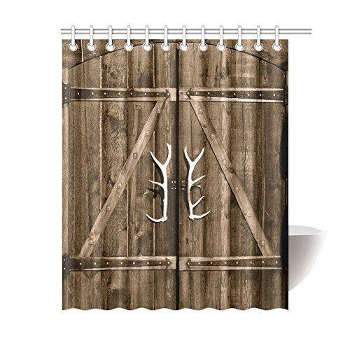 Interestprint Wooden Garage Barn Door Shower Curtain Vintage