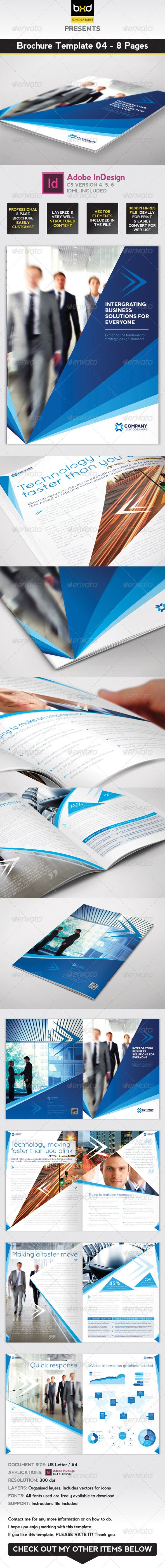 Brochure Template - InDesign 8 Page Layout 04 | Pinterest | Brochure ...