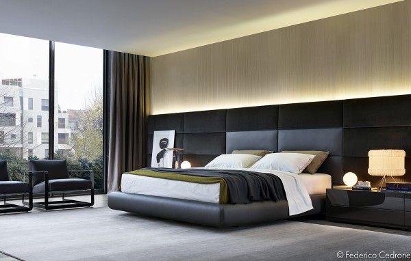bett kopfteil gepolstert hohes design graues schlafzimmer - teppichboden für schlafzimmer