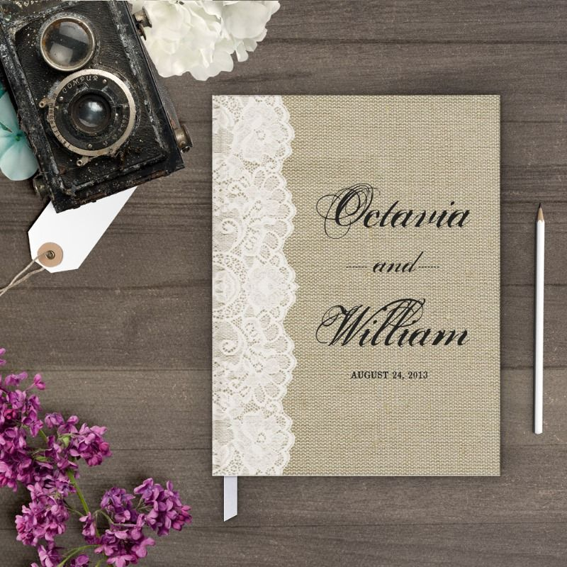 ideas for country wedding invitations%0A Items similar to Country wedding guest book  Rustic sign in book  Burlap  Lace  Wedding guest book  on Etsy
