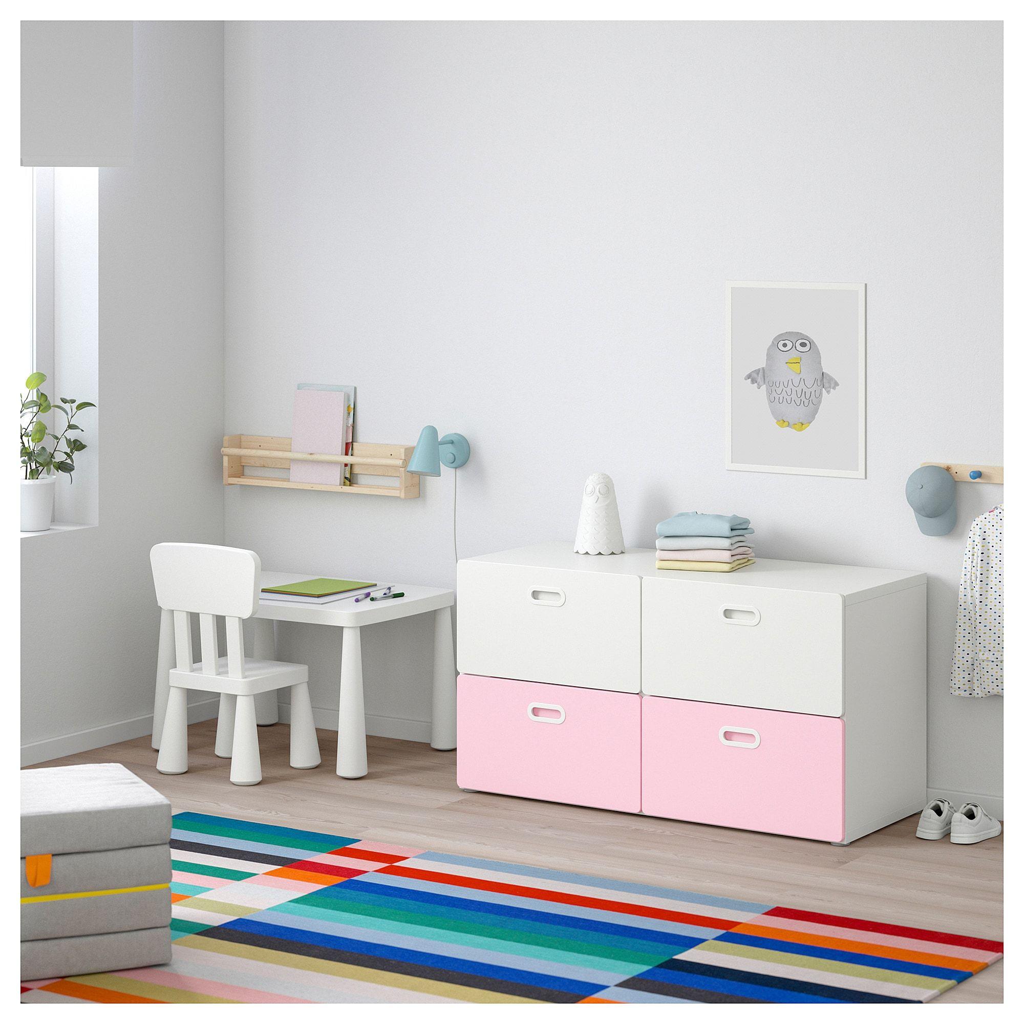 New Unicorn 4 Drawer Chest Drawer Girls Kids Children Bedroom Storage Unit Pink
