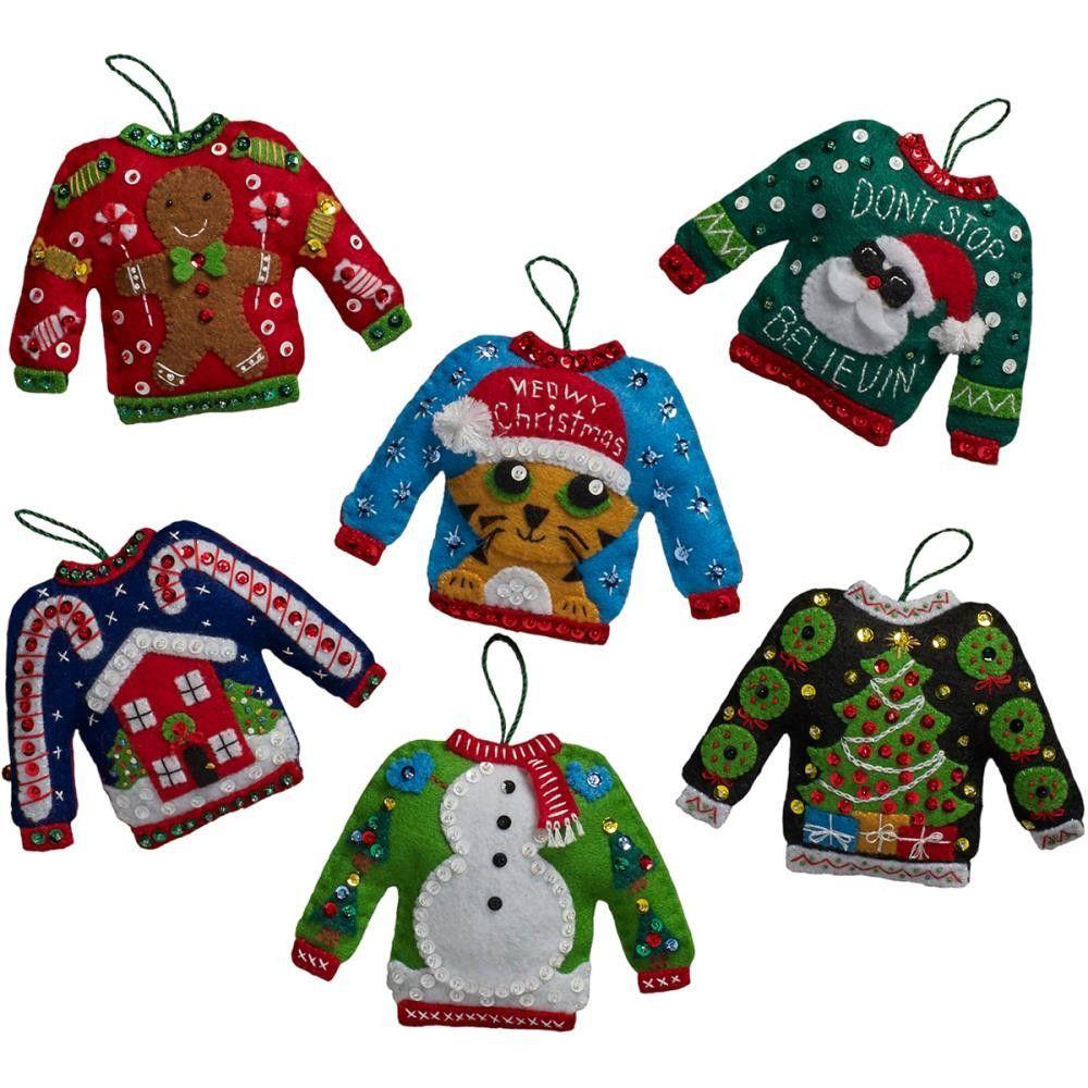 Ugly Sweater Ornaments Felt Applique Kit6/Pkg Diy felt