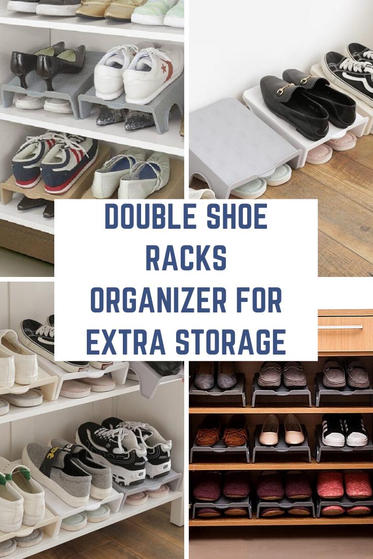 Double Shoe Racks Organizer In 2020 Shoe Storage Rack Shoe Rack