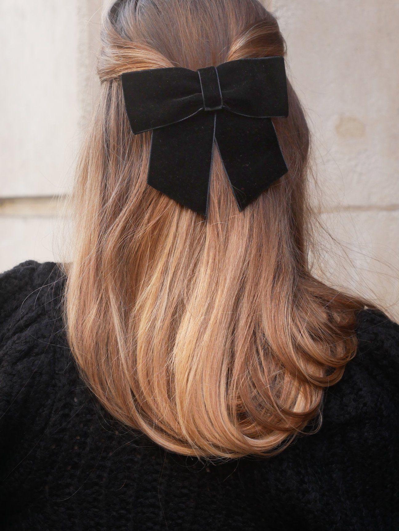 Barrette Noeud Velour Noir Valentine Accessoires Cheveux Coiffure Cheveux Kawaii