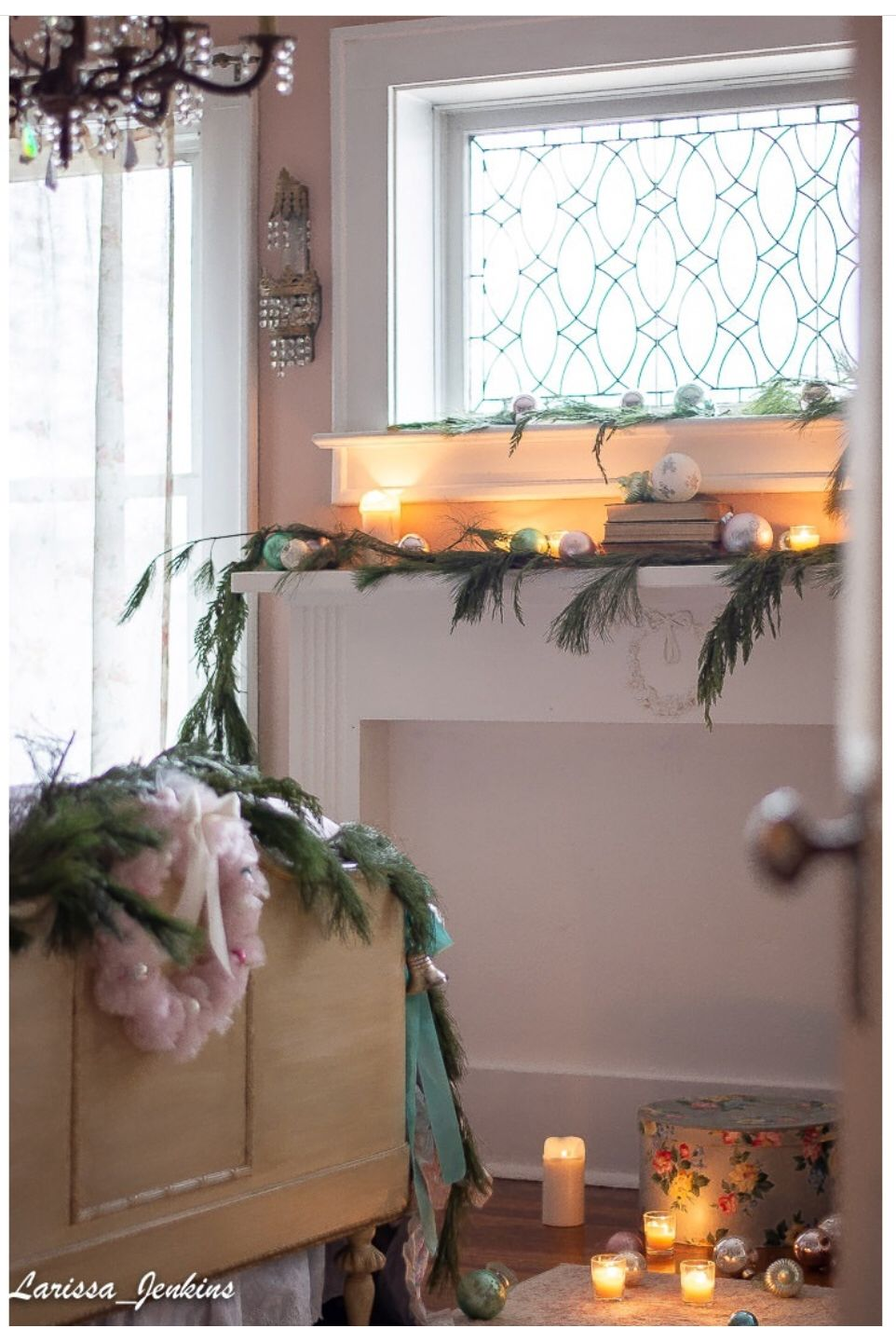French style pink bedroom decorated for Christmas French