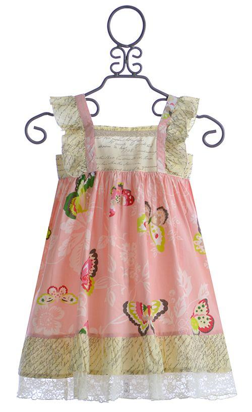 Mustard Pie Pink Dress with Butterflies for Girls $44.40
