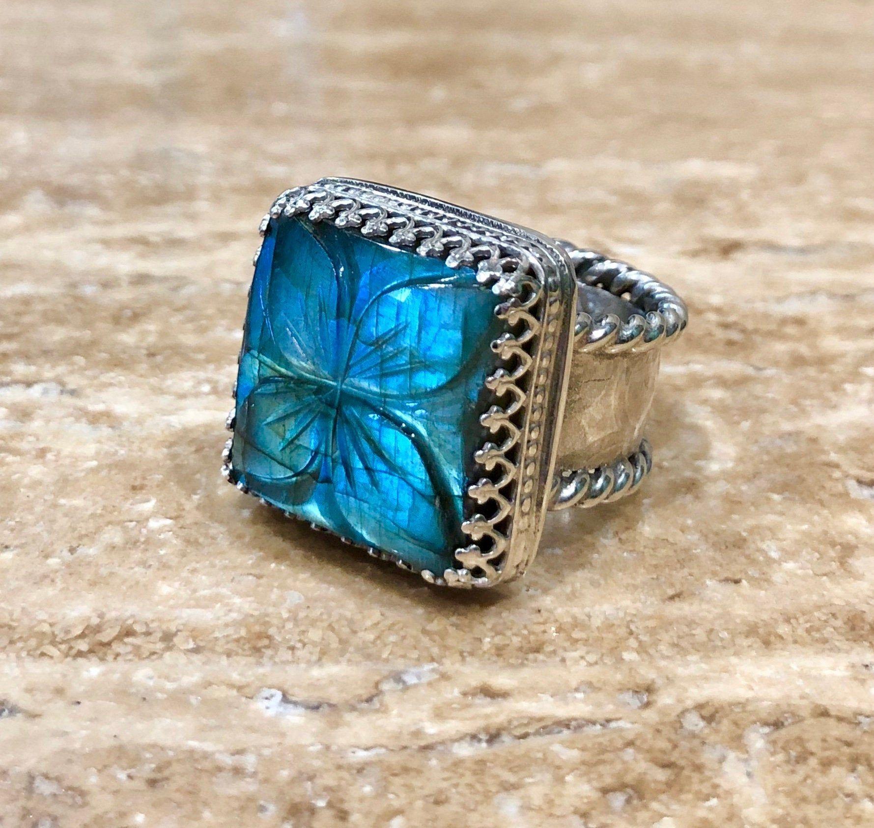 Handmade OOAK Aquamarine Sterling Silver Crystal Bohemian Ring