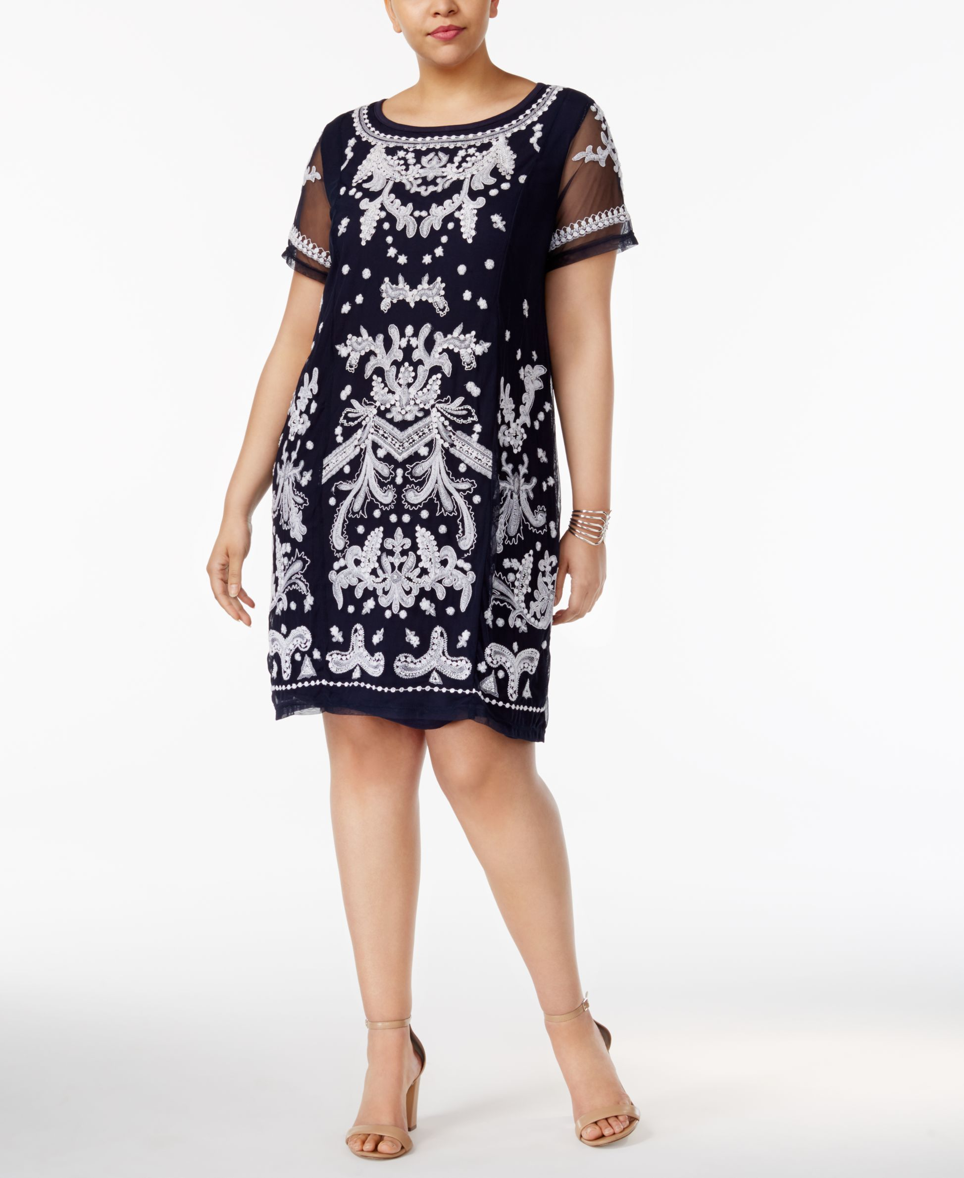 Inc International Concepts Plus Size Embroidered Sheath Dress, Only ...