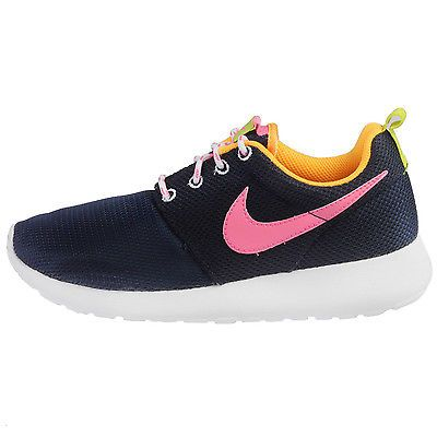 cc5de784ac2c Nike Rosherun Gs Big Kids 599729-401 Navy Pink Running Shoes Youth Size 6.5