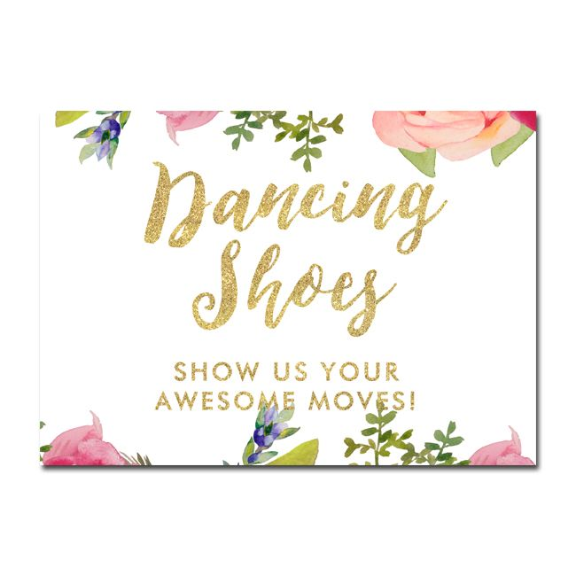 aa90de2b2e1c Wedding Sign - Dancing Shoes - Pretty Floral Gold Glitter - Instant  Download Printable - Style