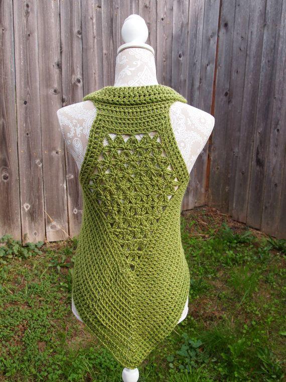 Avocado green flower of life crochet vest, sacred geometry festival ...