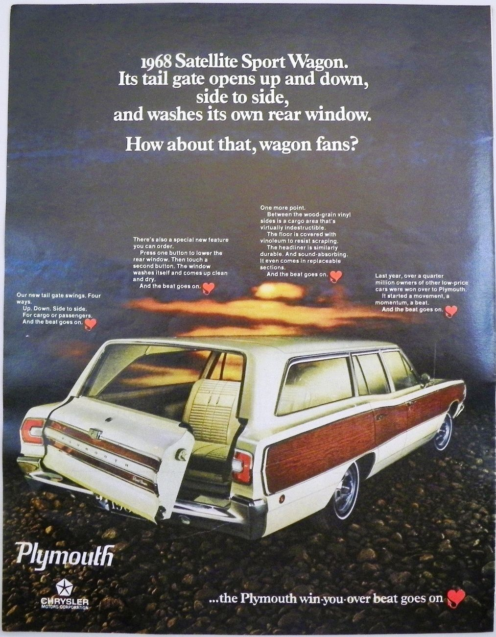1968 Plymouth Satellite Sport Wagon Ad Look Magazine 1967