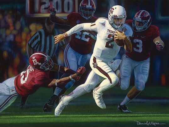 Texas A M S Johnny Manziel Turning Of The Tide Daniel Moore Signed Mini Print Ebay Johnny Manziel Alabama Vs College Football Games