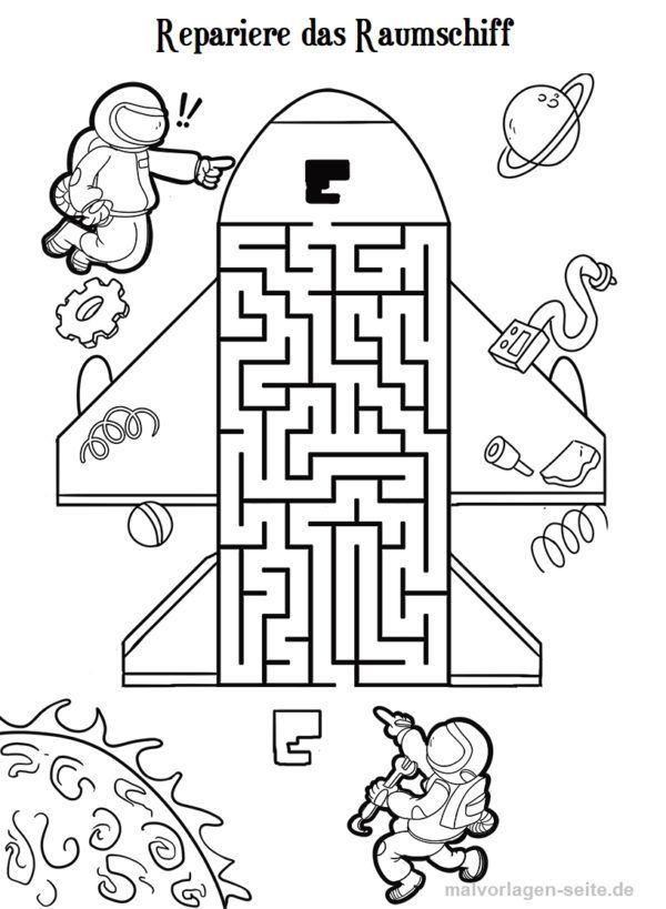 Irrgarten Labyrinth für Kinder | Rätsel, Raumschiff und Ausmalen