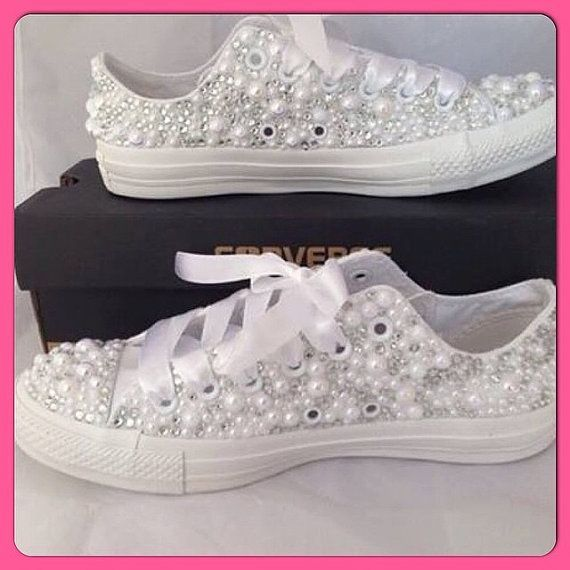 Rhinestone Bedazzled Glitter Converse Bride Wedding