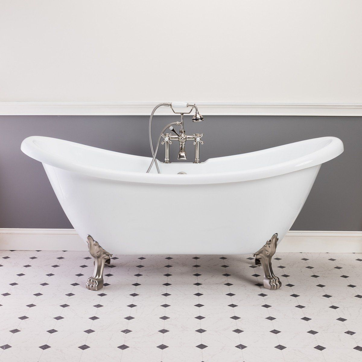 Florence 70 Inch Acrylic Double Slipper Clawfoot Tub Rim Faucet Drillings Lion Paw Feet Clawfoot Tub Tub