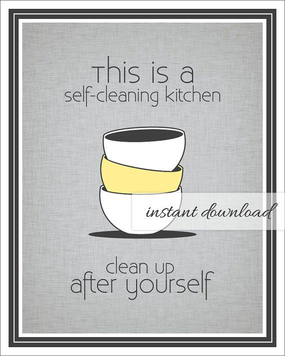 Self Cleaning Kitchen Sign Stacked Bowls Gray And Yellow