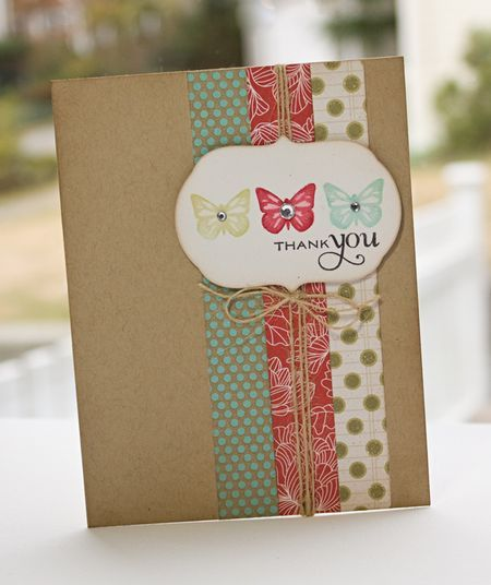 Simple craft card with scrap paper strips and twine
