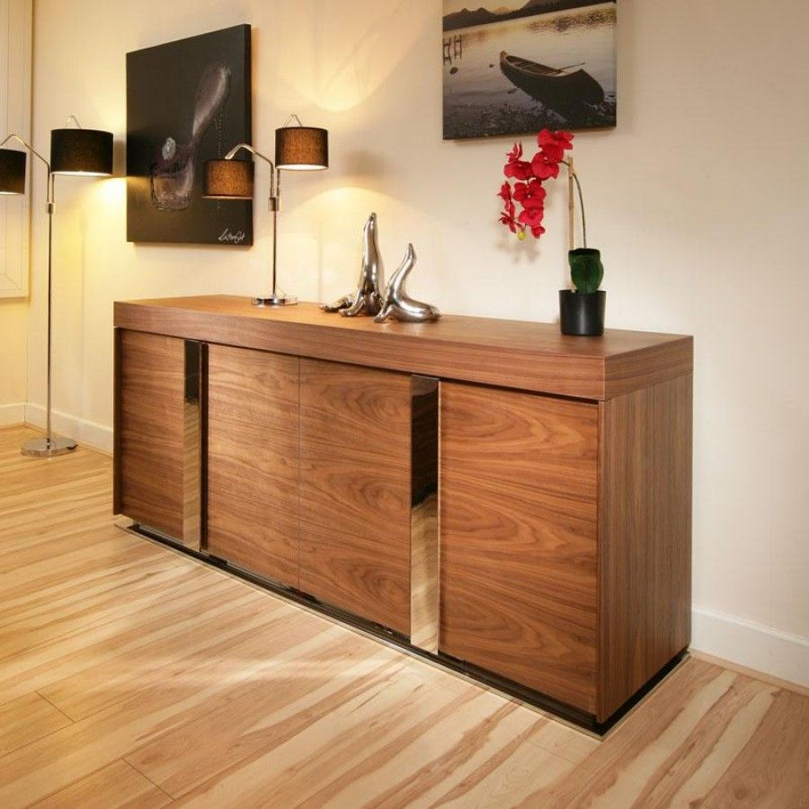 modern large walnut sideboard cabinet cupboard. Black Bedroom Furniture Sets. Home Design Ideas