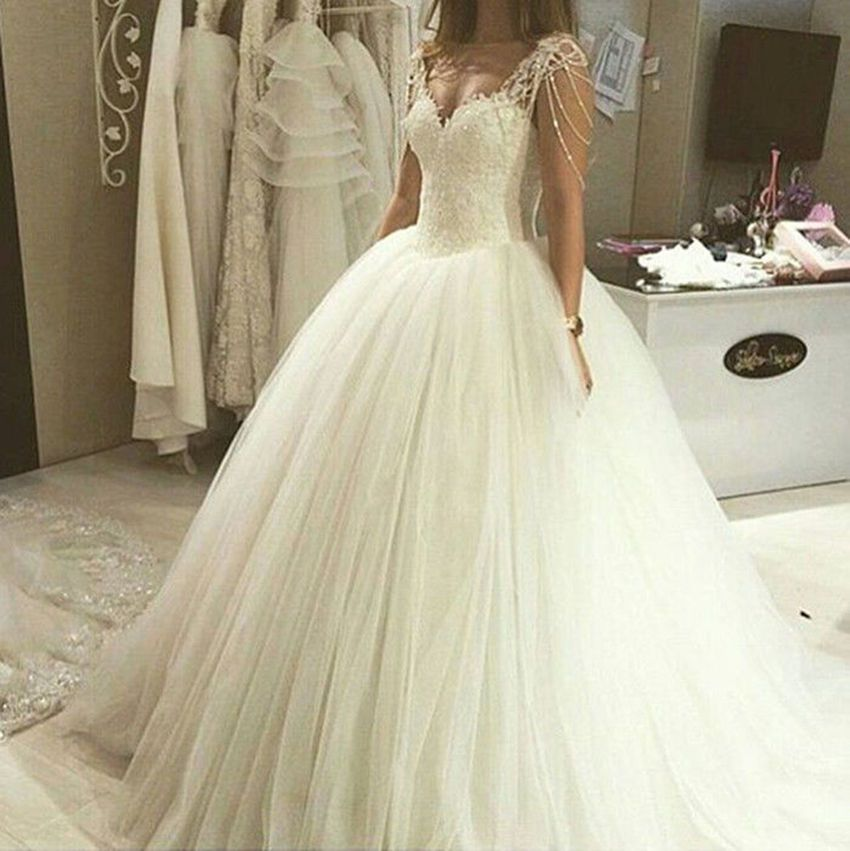 Luxuriös Spitze Perlen Weiß/Elfenbein Brautkleider Hochzeitskleid ...