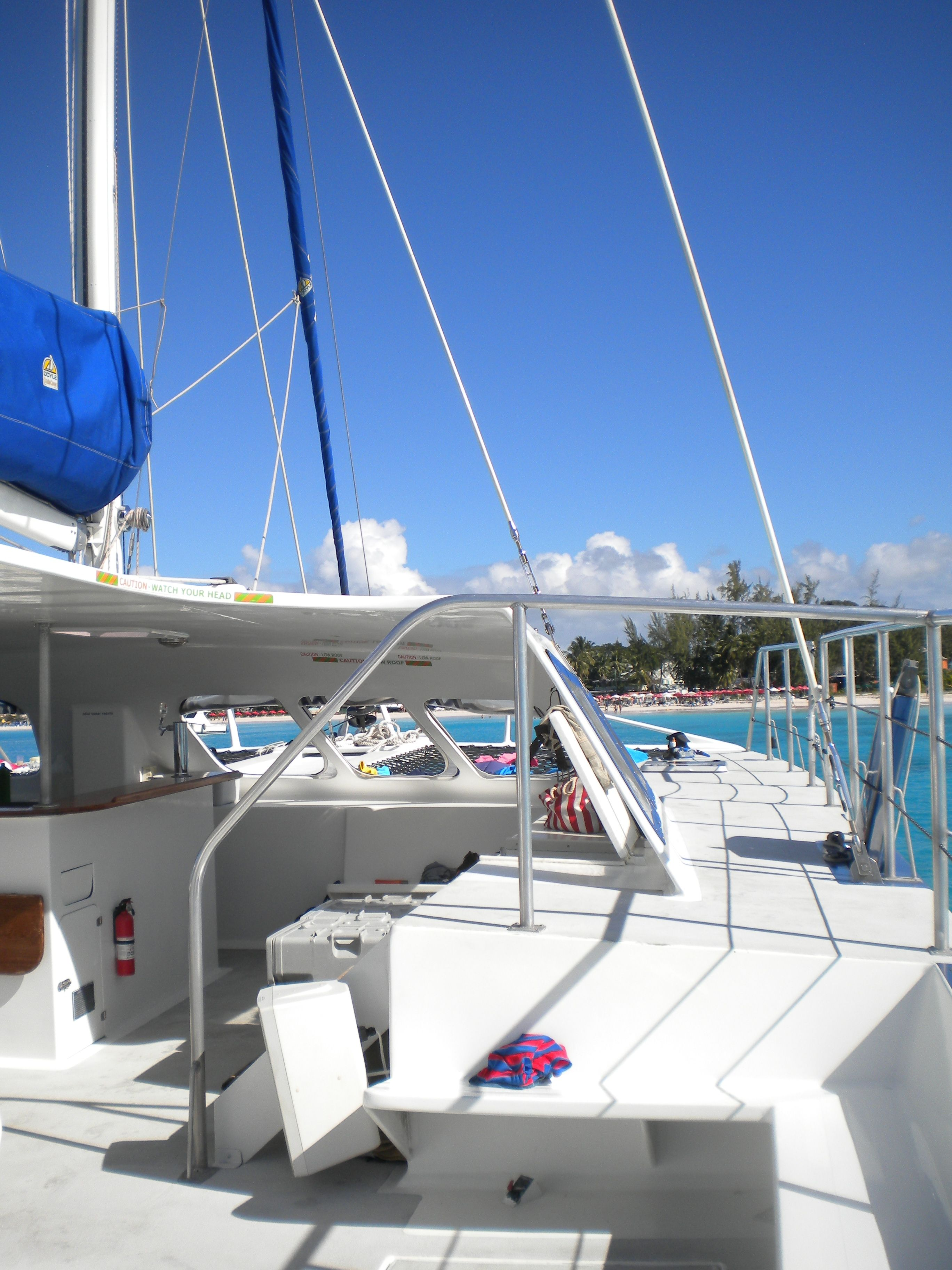 On board a beautiful catamaran. Barbados has some of the best catamaran's around, well kept and with great staff to take care of your every need...