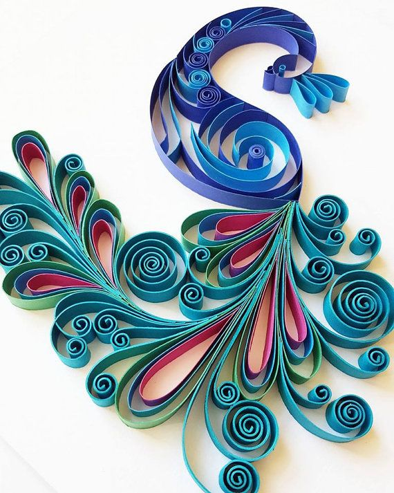 Quilled Paper Art Peacock Handmade Artwork By Gericards