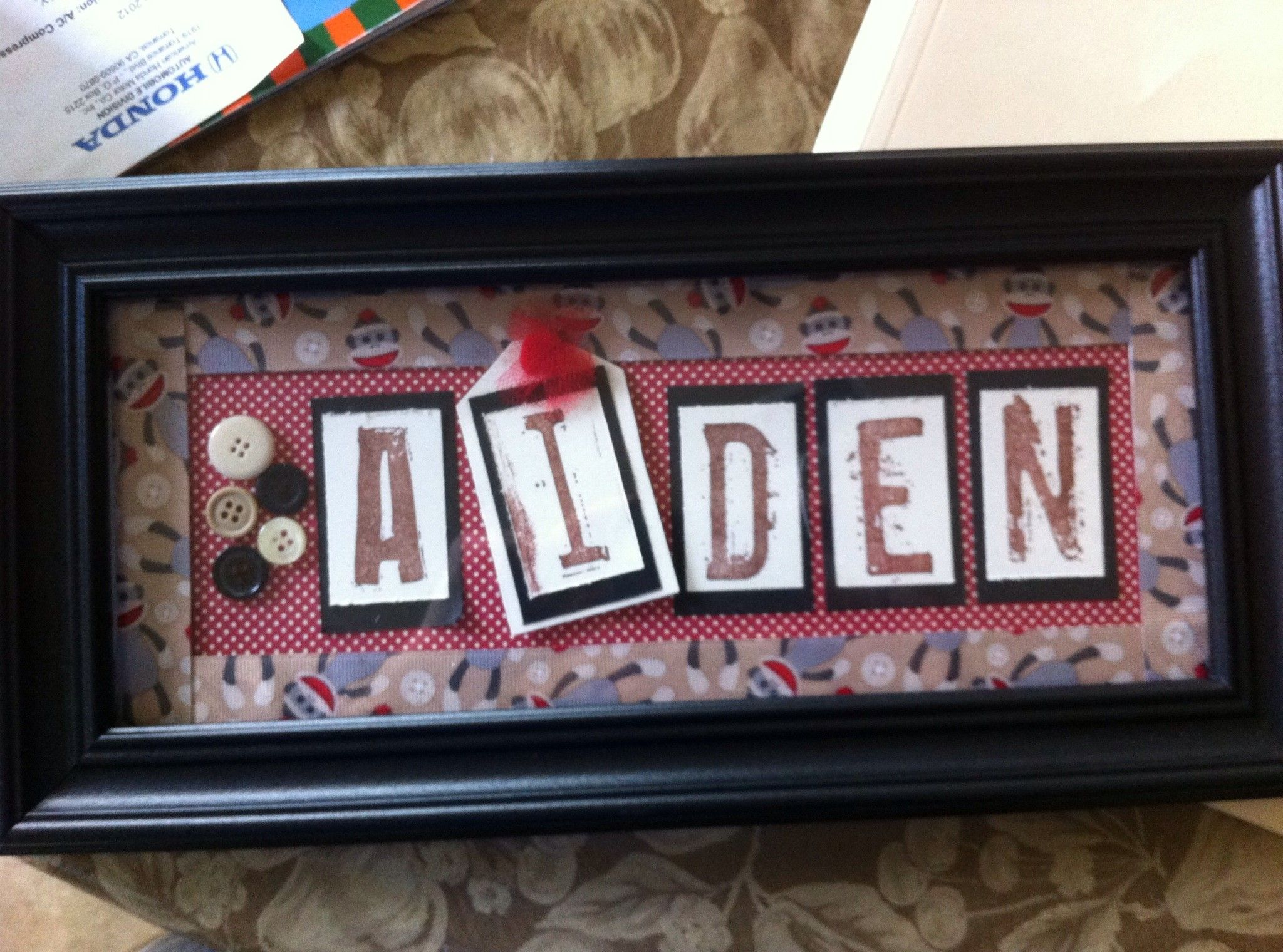 Sock Monkey Nursery Name Frame