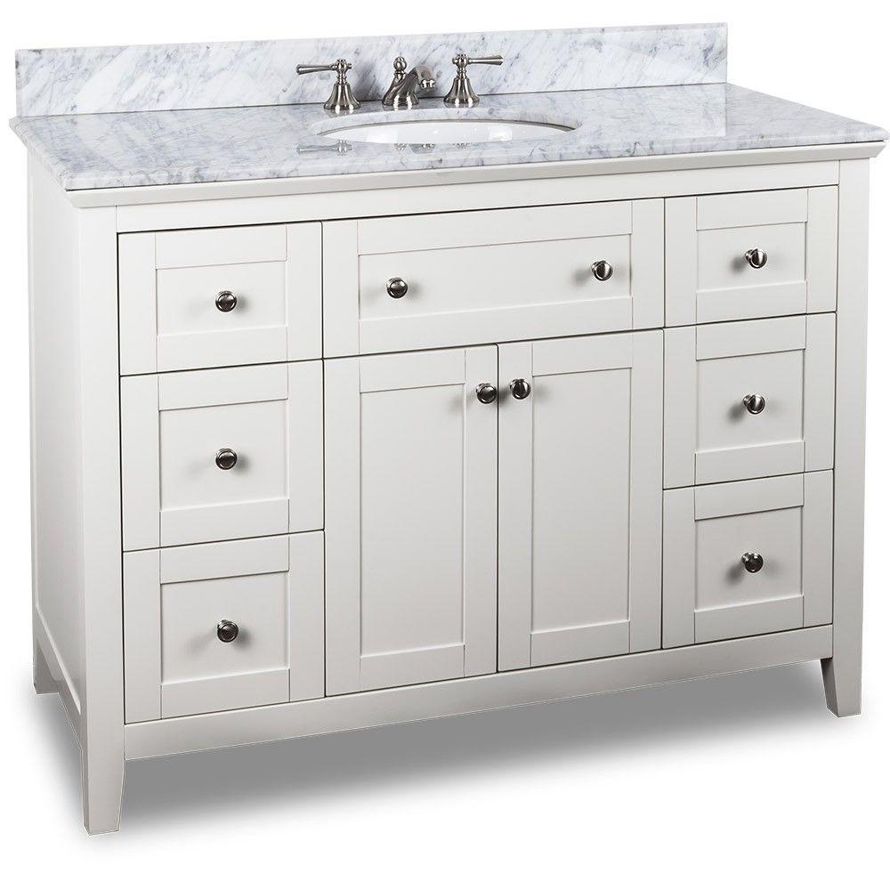 48 Inch White Finish Bathroom Vanity Carrera Marble Countertop Free Standing Vanity Finished Bathrooms White Vanity Bathroom