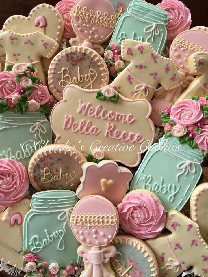 shabby chic baby shower cookies  claudia's creative cookies, Baby shower invitation