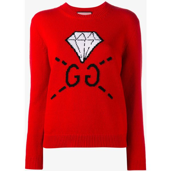 Gucci Ghost Diamond Intarsia Wool Knit (4.540 HRK) ❤ liked on ...