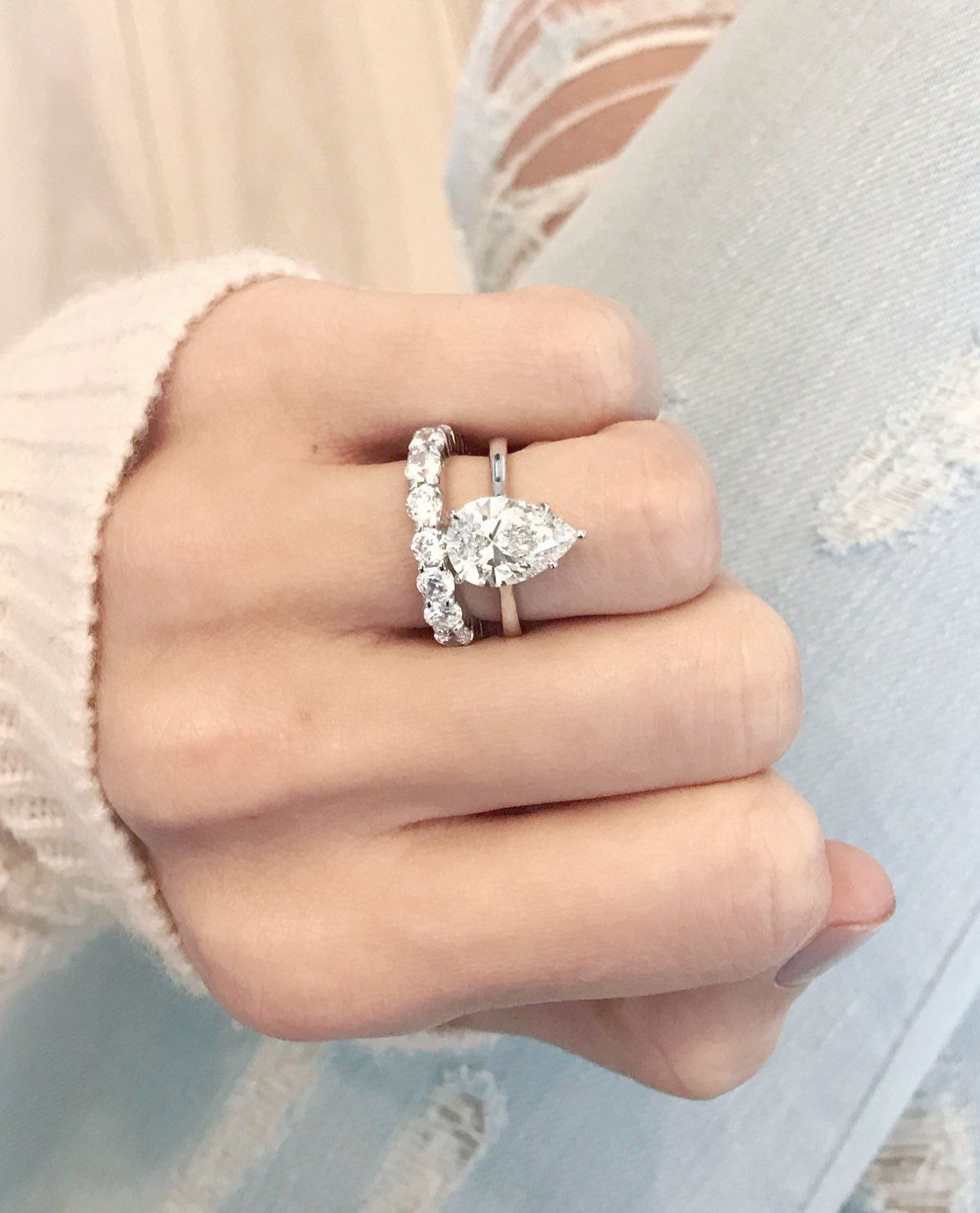 Round Halo Engagement Ring With Thin Rose Gold Wedding Bands Like
