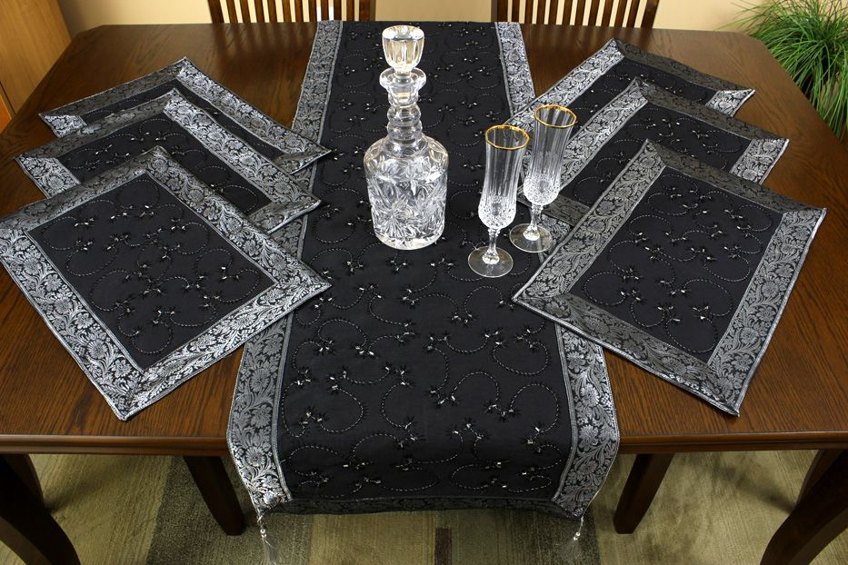 Have A Champagne Toast Over This Mystic Black Table Placemat Set Elegant Hand Embroidered Indian Table Linen Placemats Placemats Patterns Hand Embroidered