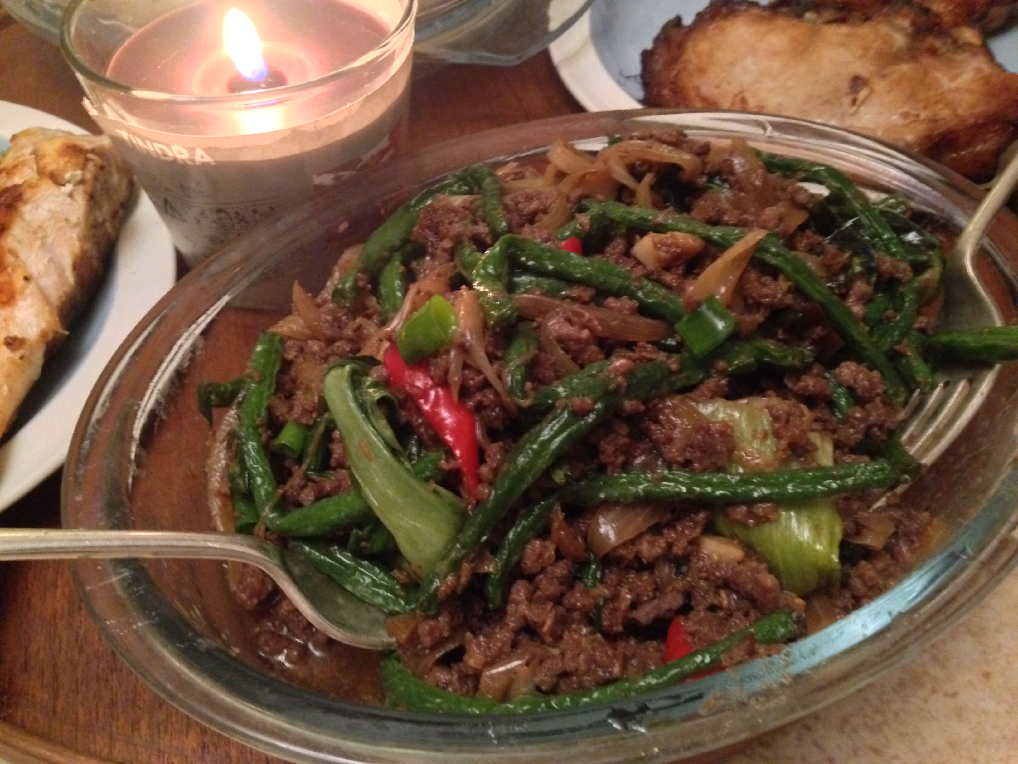 deep fried string beans and pak choi with spicy mince