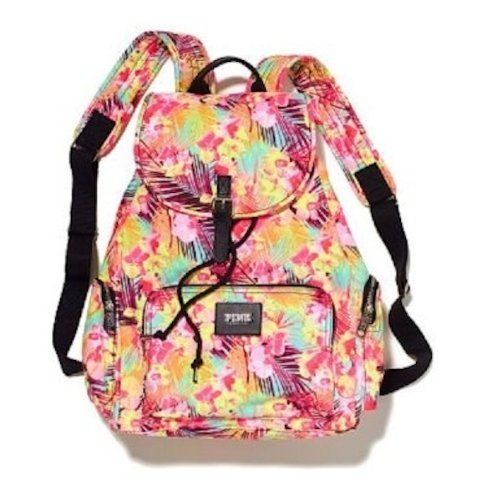 Victoria's Secret PINK Backpack Hawaiian Floral Canvas School Handbag Book Bag Tote~Sold Out - Click image twice for more info - See a larger selection of school backpacks at http://kidsbackpackstore.com/product-category/school-backpacks/ - kids, kids backpack, school backpack, everyday backpack, school bag, gift ideas, teens backpacks.