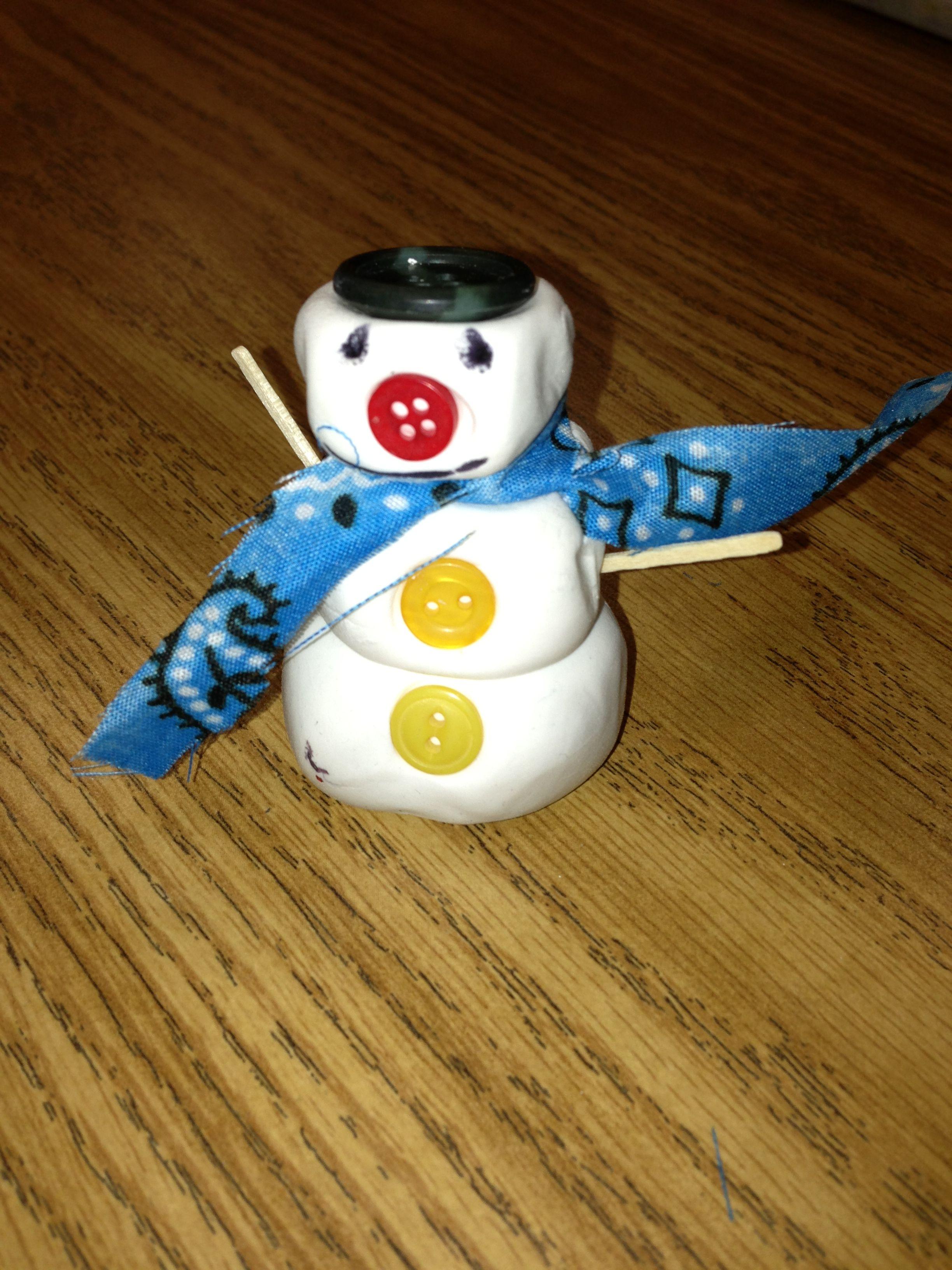 Snowman Sculpture Crayola Air Dry Clay & mixed materials