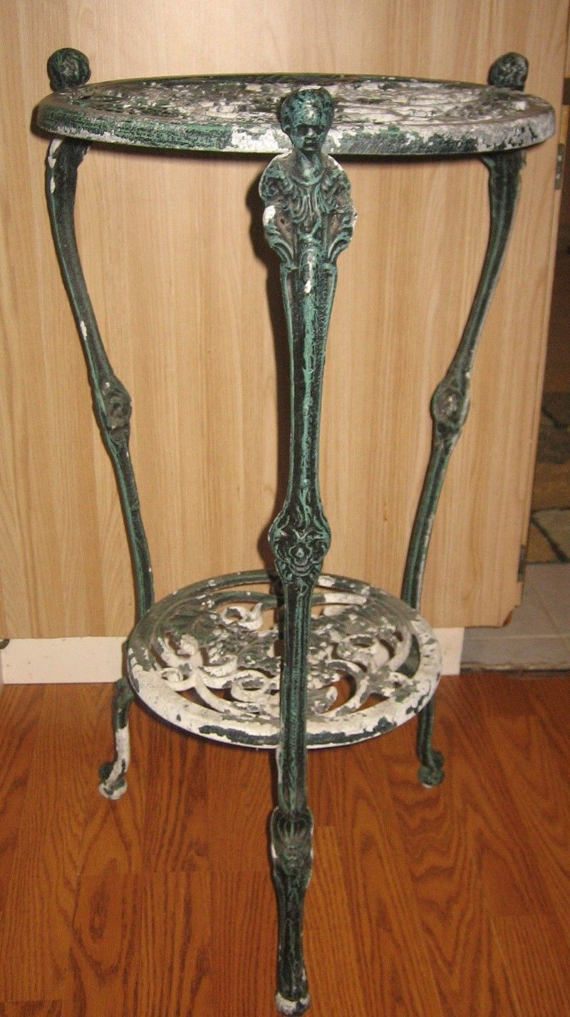 Vintage Cast Iron 2 Tier Plant Stand Table Florida Local Ebay