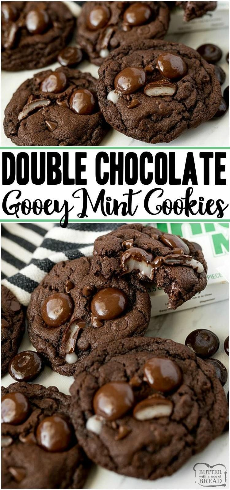 Double Chocolate Mint Cookies Double Chocolate Mint Cookies are a rich chewy chocolate cookie topped with Junior Mints Perfect fudge cookie recipe for mint chocolate love...