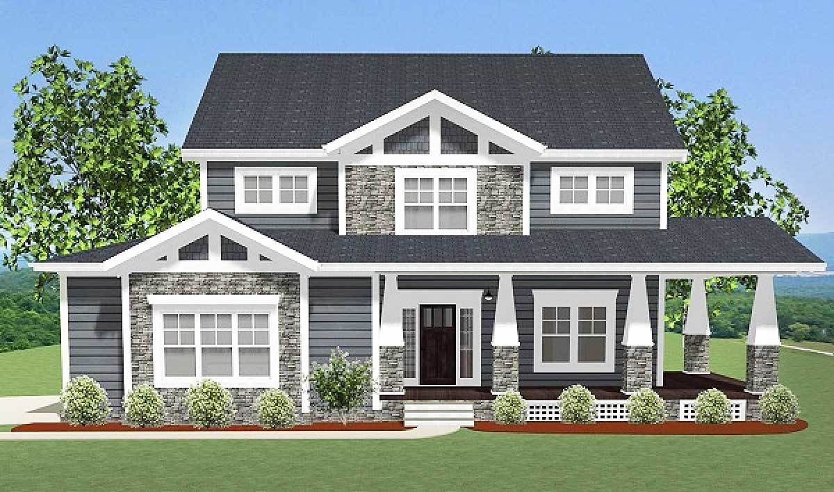craftsman house plan with l shaped porch 46301la 02 - L Shaped Craftsman Home Plans