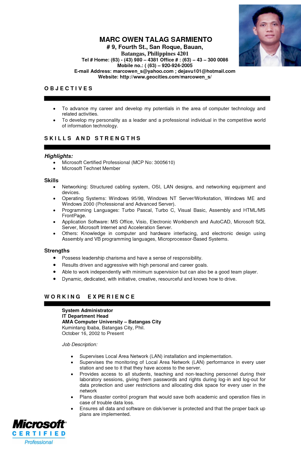 Example of resume format for ojt in 2020 Resume examples