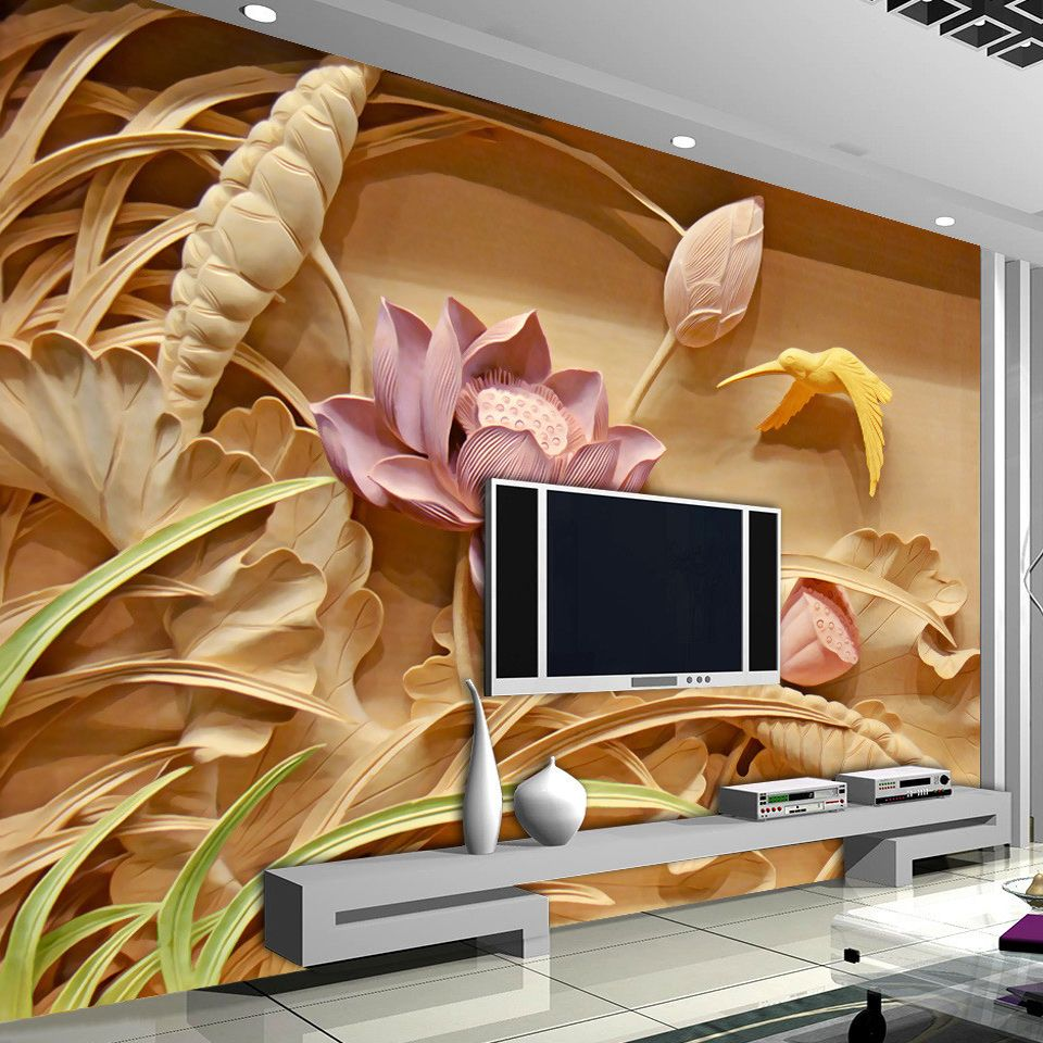2019 Fashion Custom 3d Photo Wallpaper Living Room 3d Wall Mural Lotu Flower Jade Carvings Photo Picture Sofa Tv Background Non-woven Mural Colours Are Striking Home Improvement Painting Supplies & Wall Treatments