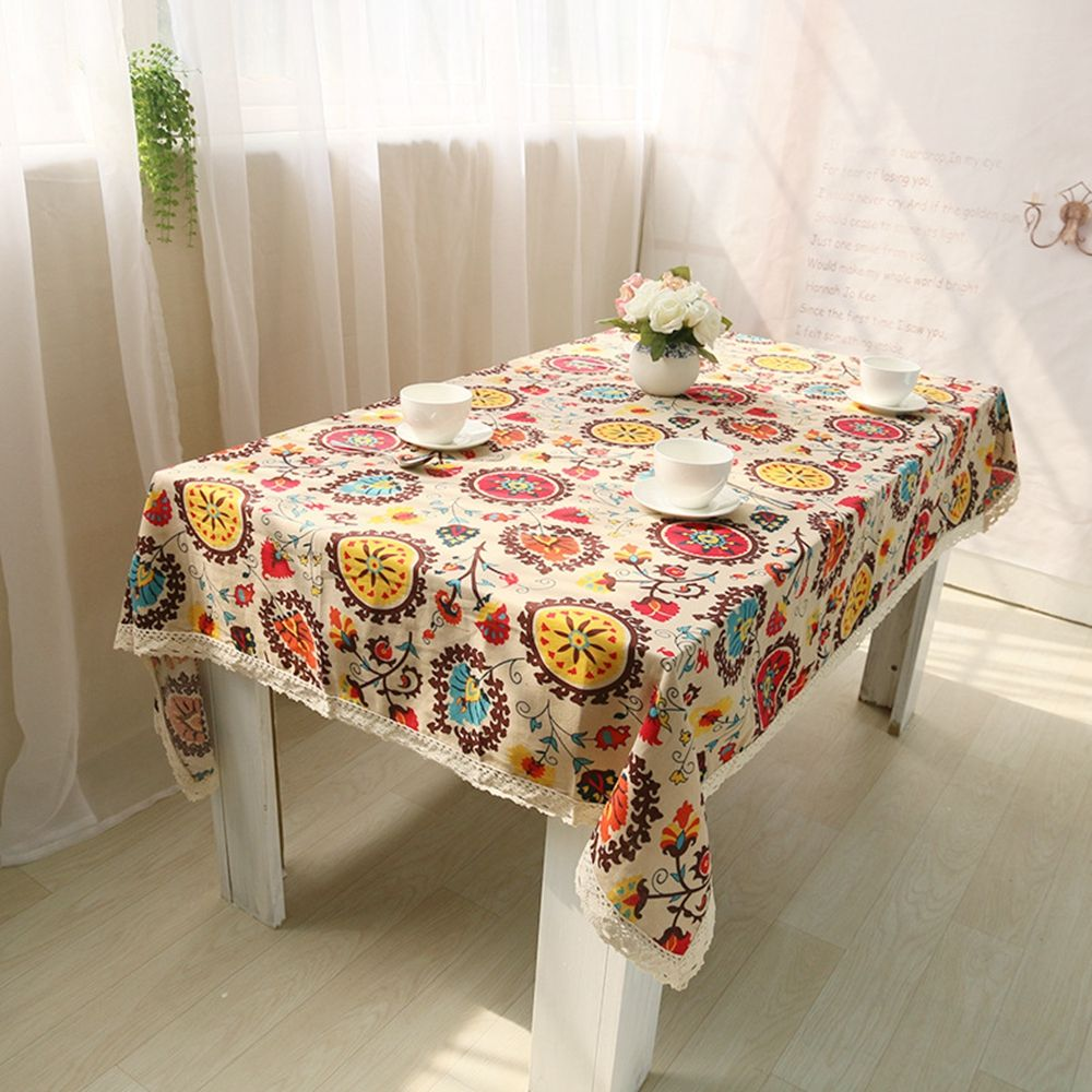 Bohemian National Wind Decorative Table Cloth Cotton Linen Lace Tablecloth  Dining Table Cover For Kitchen Home