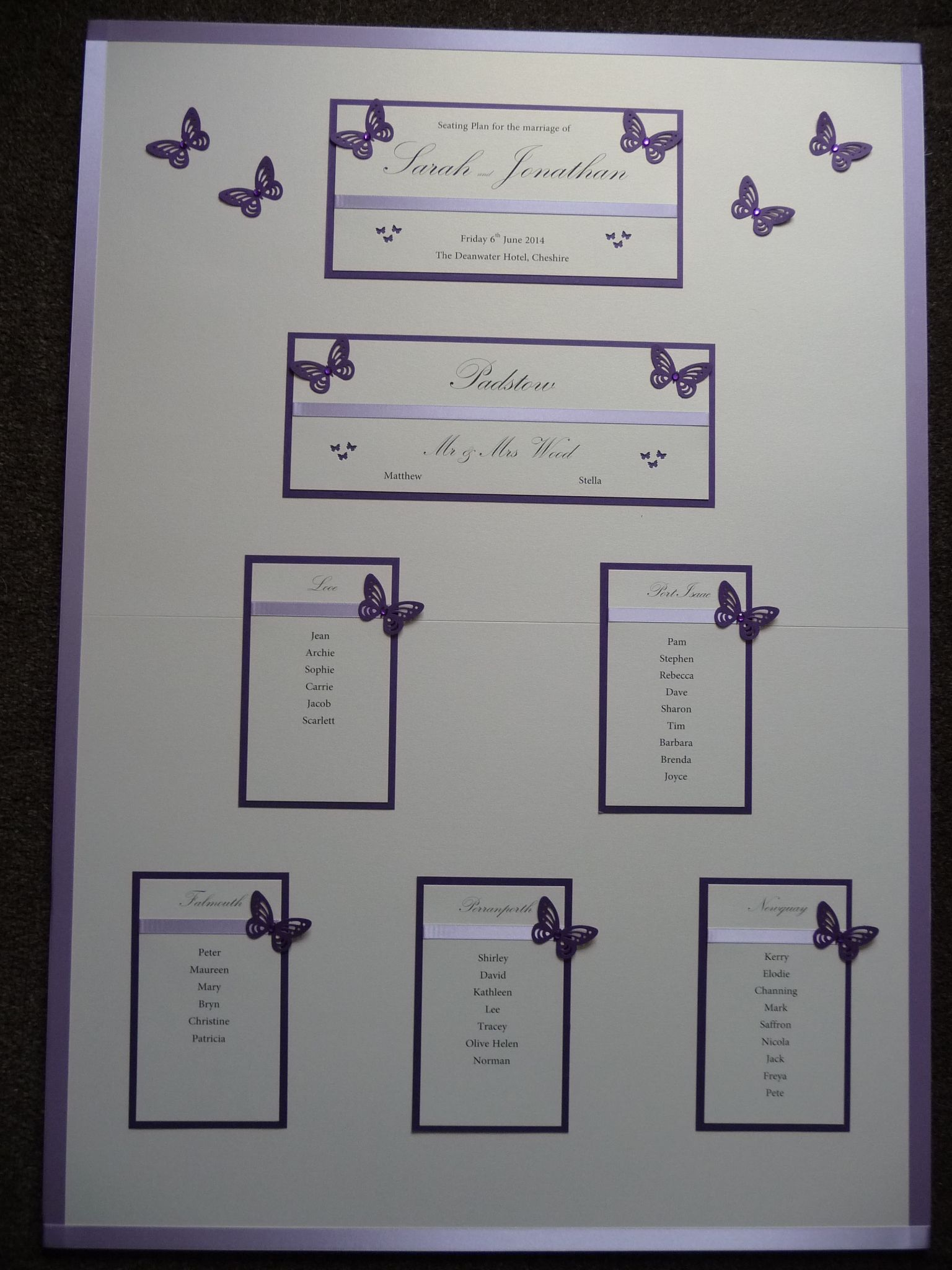 Lilac And Purple Butterfly Themed Wedding Table Plan