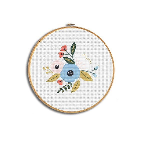 Floral cross stitch pattern, modern cross stitch, flower pattern pdf, flower embroidery chart, flowe