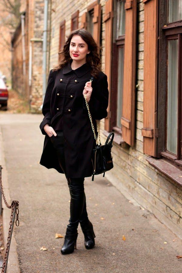 Women's Black Trenchcoat, Black Leather Skinny Pants ...