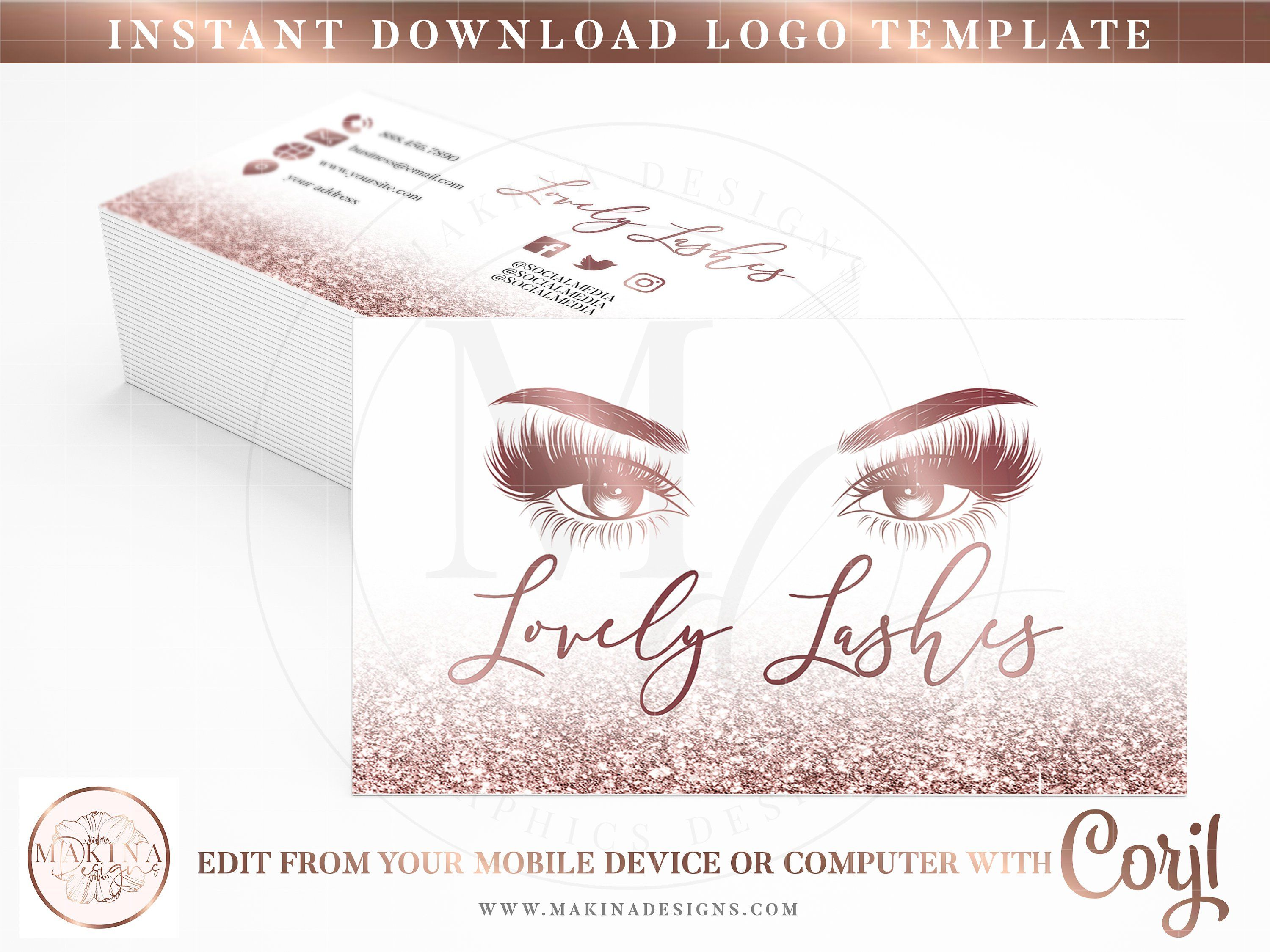Business card template business card lashes business card