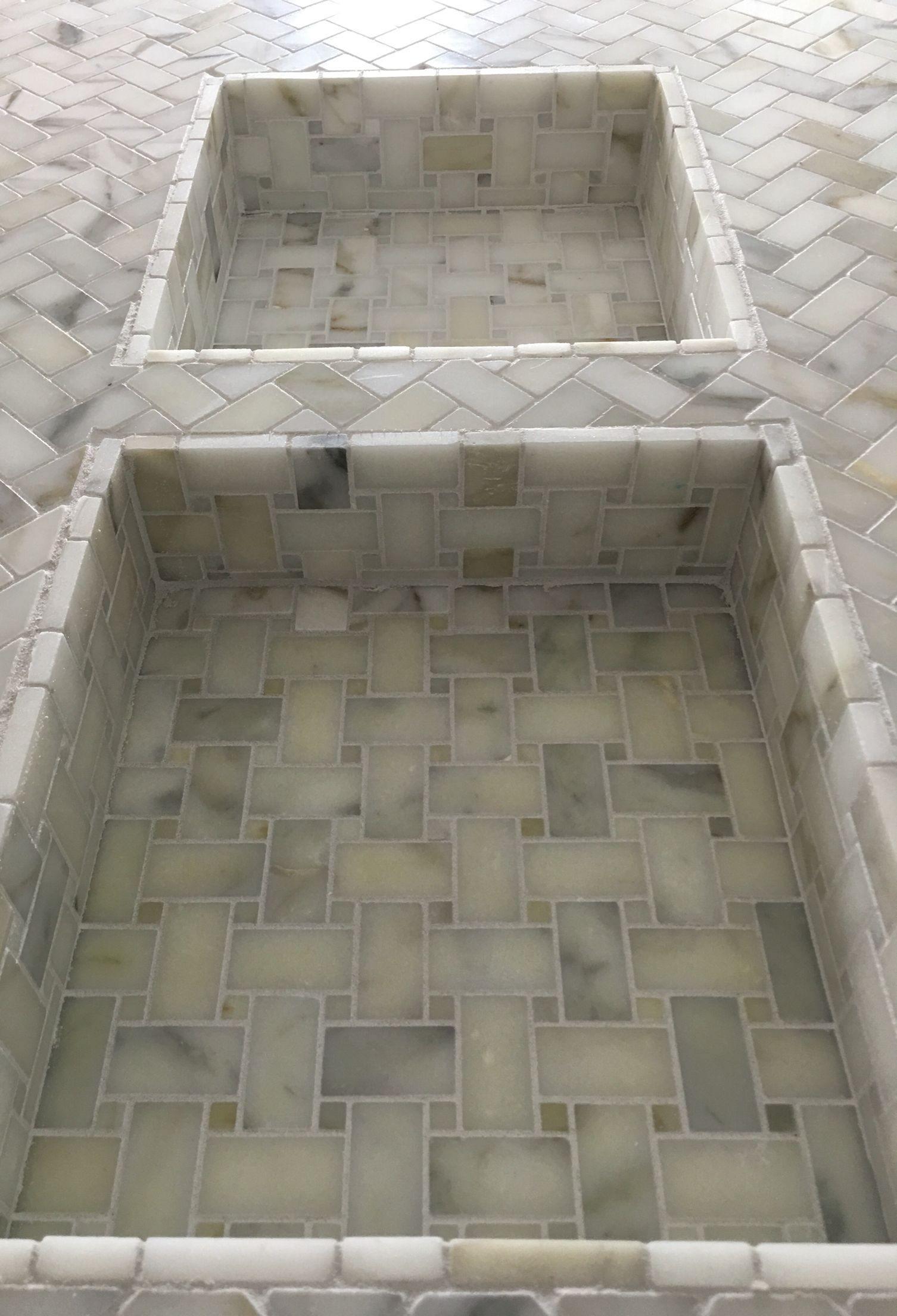 Www Tile Bar Italian Calcutta Gold 1x2 Quot Herringbone Shower