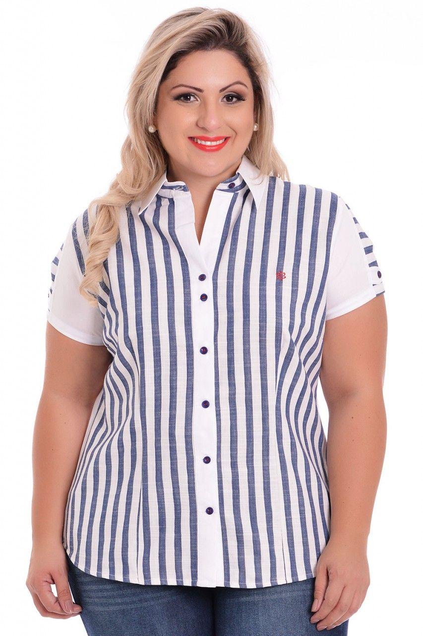 efebc5856 Camisa Plus Size Benjamin - VK Moda Plus Size