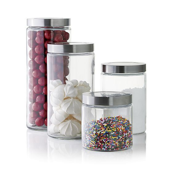 Glass Storage Canisters with Stainless Steel Lids Pinterest